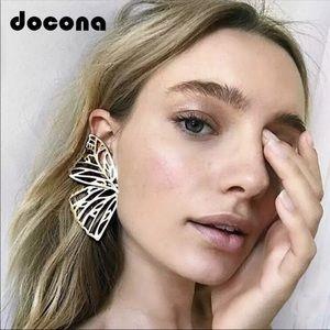New Silver Hollow Butterfly Statement earrings